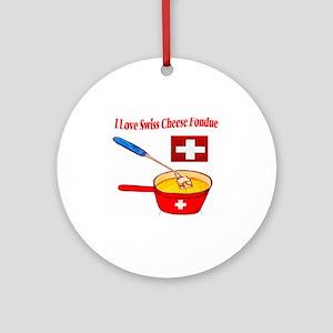 2-I love fondue Round Ornament