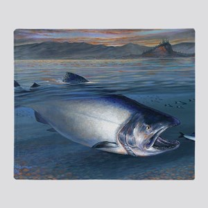 Early bite salmon Throw Blanket