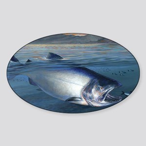 Early bite salmon Sticker (Oval)