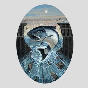 Salmon breaks Dam Oval Ornament