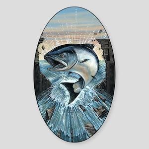 Salmon breaks Dam Sticker (Oval)