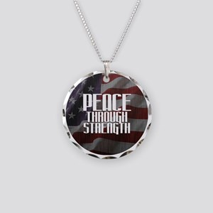 Peace Through Stength Necklace Circle Charm