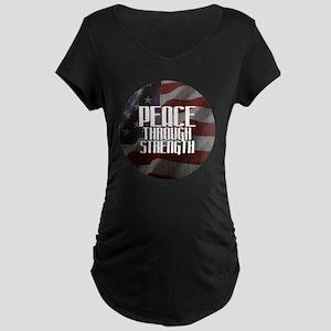 Peace Through Stength Maternity Dark T-Shirt