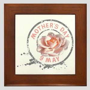 Mothers_Day_Rose_Stamp Framed Tile