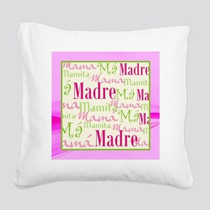 Mama_Words_Hispanic_Pink_Grn_ Square Canvas Pillow