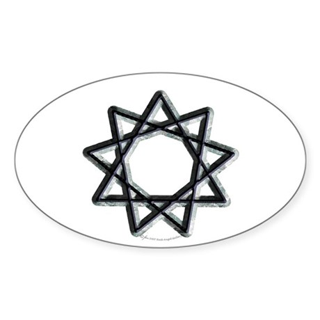 Nonagram or 9 Pointed Star Oval Sticker