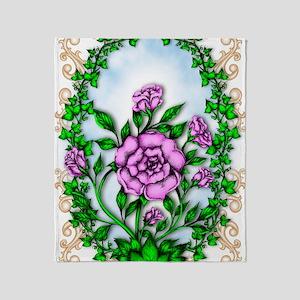Victorian Rose Bouquet Throw Blanket