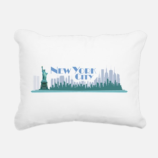 NYC Liberty Art Deco Rectangular Canvas Pillow