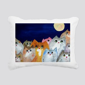 Moon Viewing Cats Rectangular Canvas Pillow