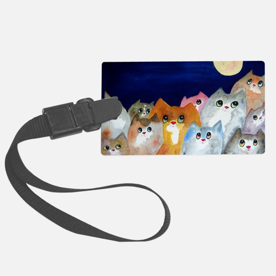 Moon Viewing Cats Luggage Tag