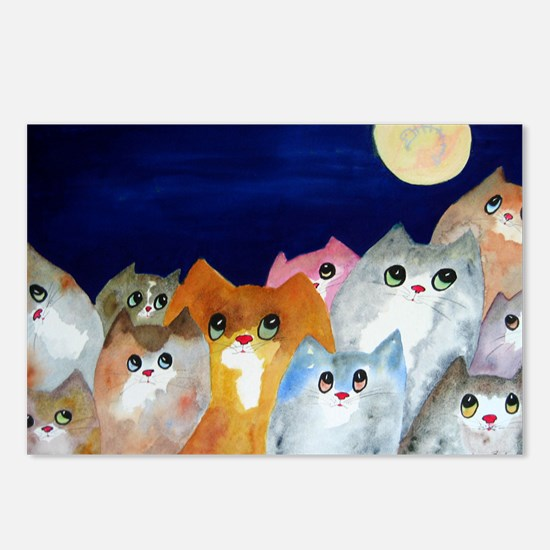 Moon Viewing Cats Postcards (Package of 8)