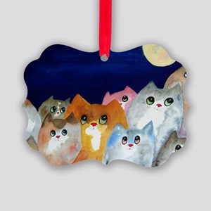 Moon Viewing Cats Picture Ornament