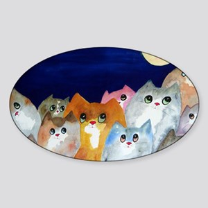 Moon Viewing Cats Sticker (Oval)