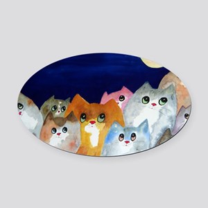 Moon Viewing Cats Oval Car Magnet