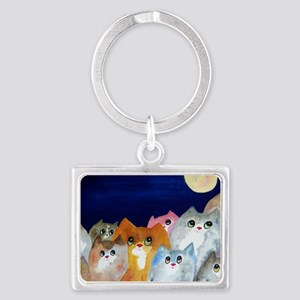 Moon Viewing Cats Landscape Keychain