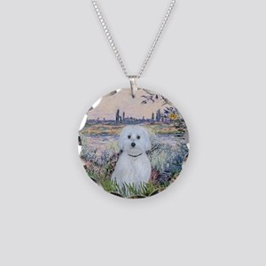 By the Seine - Maltese (B) - Necklace Circle Charm