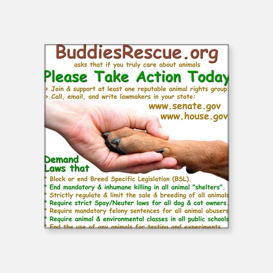 """please_take_action_today Square Sticker 3"""" x 3"""""""