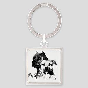 2dog head Square Keychain