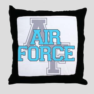 Air Force Varisty teal and gray copy Throw Pillow