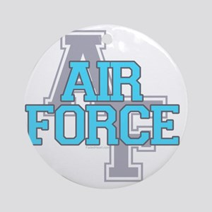 Air Force Varisty teal and gray cop Round Ornament