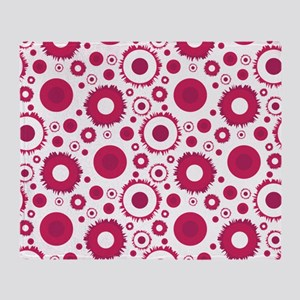 Retro Style magneta and red circle p Throw Blanket