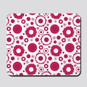 Retro Style magneta and red circle patte Mousepad