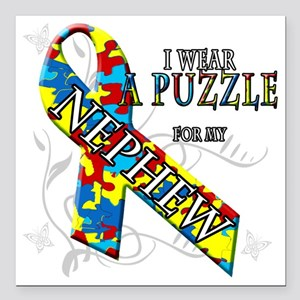 """I Wear A Puzzle for my N Square Car Magnet 3"""" x 3"""""""
