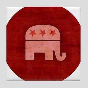 Pink GOP Republican Elephant Tile Coaster