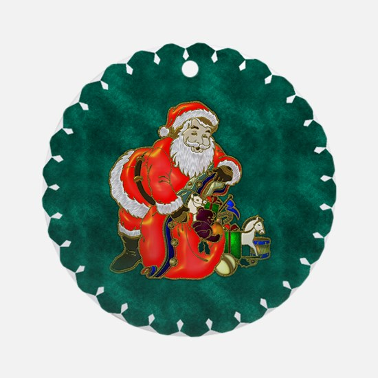 Happy Father Christmas Round Ornament