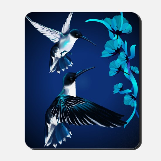 two blue Hummingbirds PosterP Mousepad