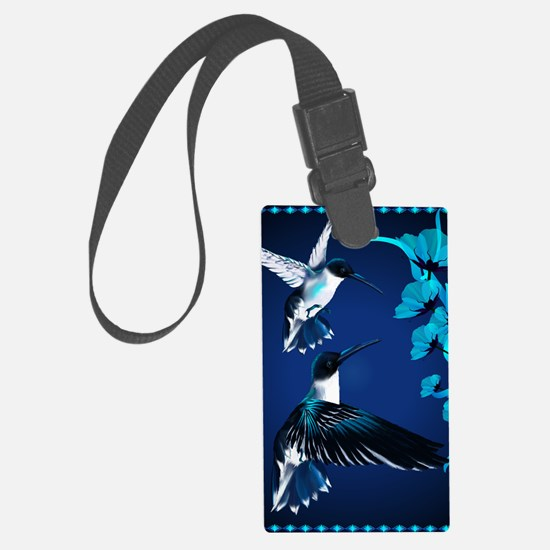 two blue Hummingbirds PosterP Luggage Tag