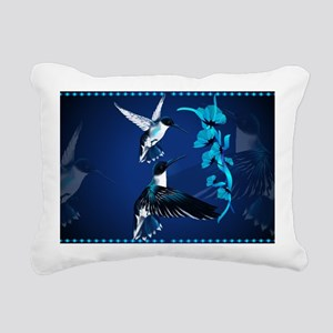Two Blue Hummingbirds-Ya Rectangular Canvas Pillow