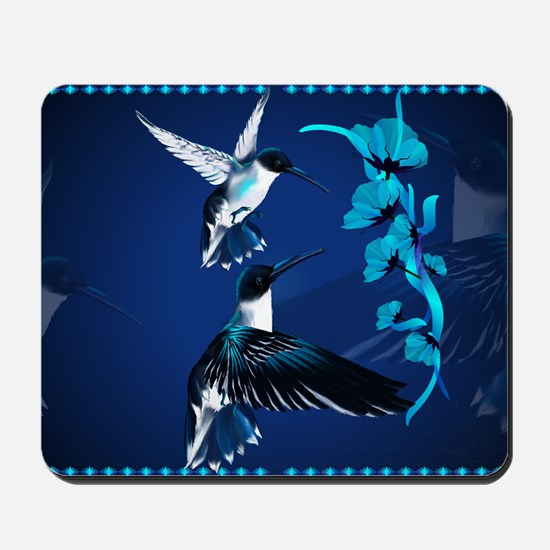 Two Blue Hummingbirds-Yardsign Mousepad
