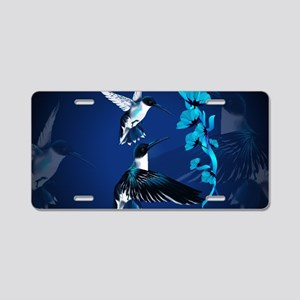 Two Blue Hummingbirds-Yards Aluminum License Plate