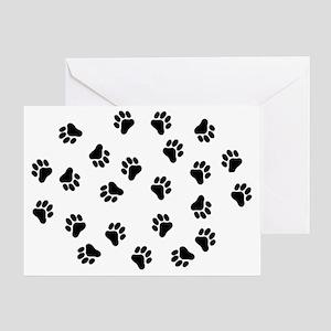 BLACK PAW PRINTS Greeting Card