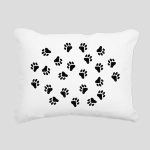 BLACK PAW PRINTS Rectangular Canvas Pillow