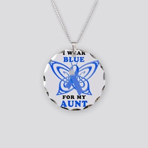 I Wear Blue for my Aunt Necklace Circle Charm
