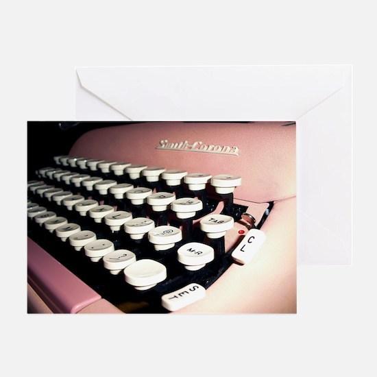Pink Typewriter Journal Cover Greeting Card