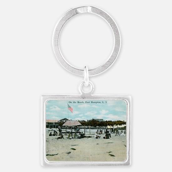 East Hampton beach vintage post Landscape Keychain