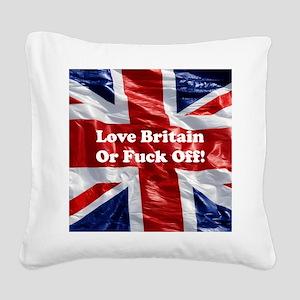 Love Britain Square Canvas Pillow