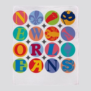 New Orleans Themes Throw Blanket