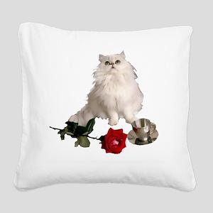 whitepersianrosewlrg Square Canvas Pillow