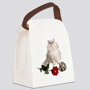 whitepersianrosewlrg Canvas Lunch Bag