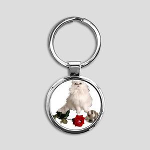 whitepersianrosewlrg Round Keychain