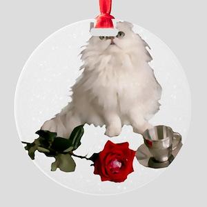 whitepersianrosewlrg Round Ornament