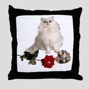 whitepersianrosewlrg Throw Pillow