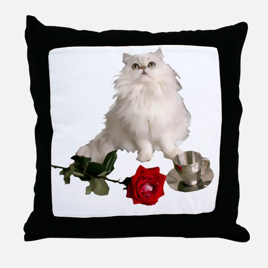 whitepersianrosewlrg Throw Pillow
