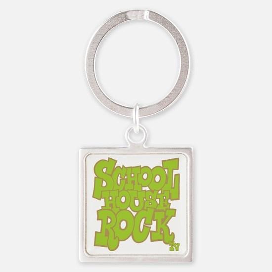 2-schoolhouserock_green_REVERSE Square Keychain