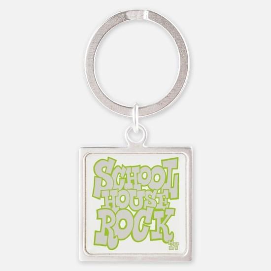 2-schoolhouserock_gray_REVERSE Square Keychain