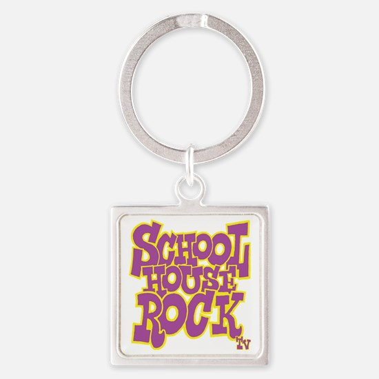 2-schoolhouserock_purple_REVERSE Square Keychain
